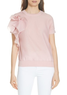 Ted Baker London Anabane Asymmetrical Ruffle Silk Cotton Top