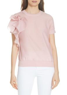Ted Baker London Anabane Asymmetrical Ruffle Silk Cotton Top