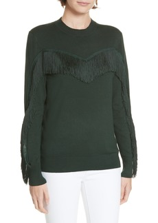 Ted Baker London Aniebal Fringe Trim Sweater