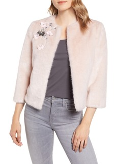 Ted Baker London Appliqué Embellished Faux Fur Crop Jacket