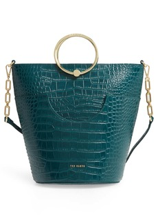 Ted Baker London Ashher Croc Embossed Leather Bucket Bag