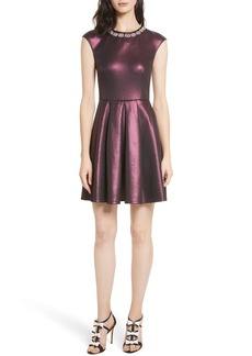 Ted Baker London Ayma Embellished Metallic Fit & Flare Dress