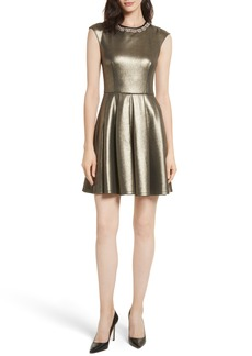 Ted Baker London Ayma Embellished Metallic Fit & Flare Dress