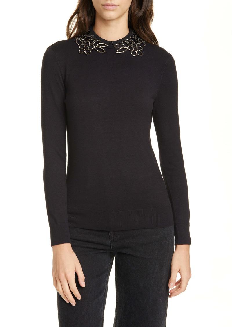 Ted Baker London Azaleo Embellished Neck Sweater