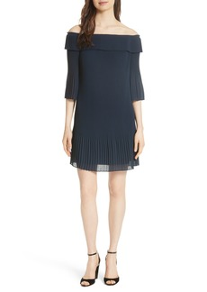 Ted Baker London Bardot Pleated Off the Shoulder Chiffon Minidress
