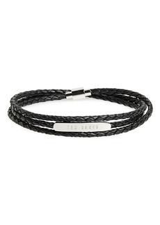 Ted Baker London Basser Braided Leather Wrap Bracelet