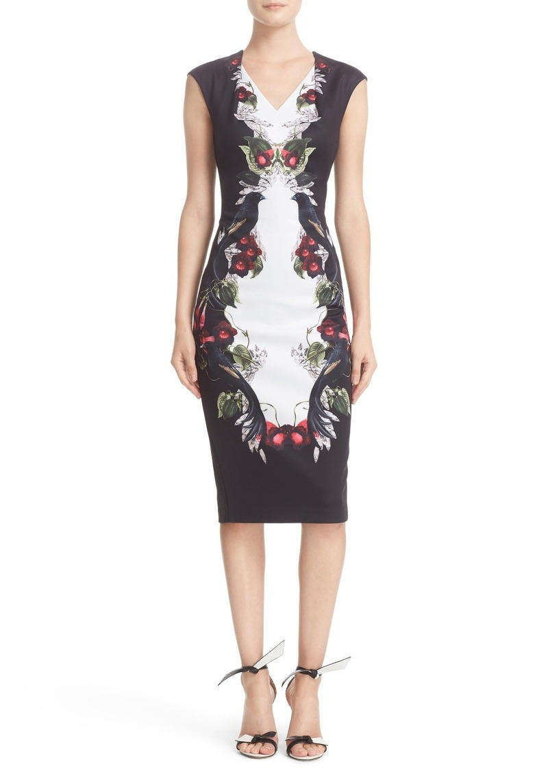 Ted Baker London 'Bejewelled Shadows' Print Front Body-Con Dress