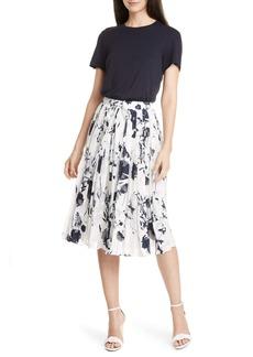 Ted Baker London Bekzi Bluebell Mock Two-Piece Pleated Dress