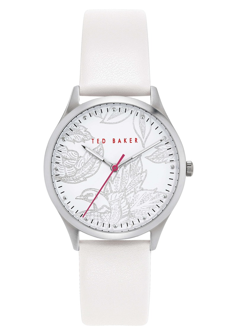 Ted Baker London Belgravia Leather Strap Watch, 36mm