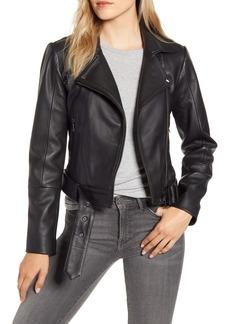 Ted Baker London Samma Belted Leather Biker Jacket