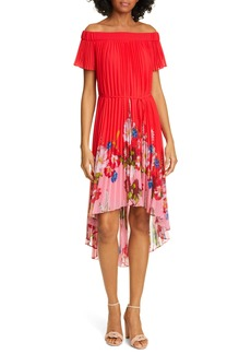 Ted Baker London Berry Gillyy Pleat Off the Shoulder Dress