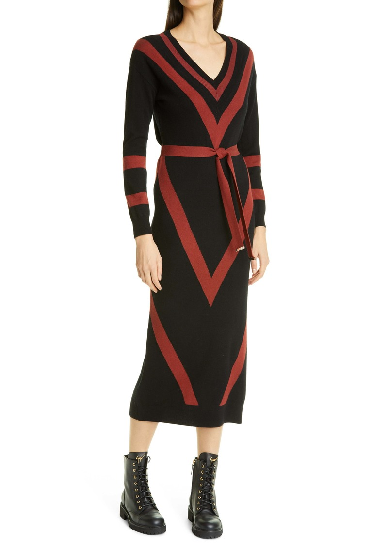 Ted Baker London Bertta Long Sleeve Wool Blend Midi Sweater Dress
