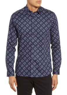 Ted Baker London Bien Slim Fit Diamond Print Button-Up Shirt