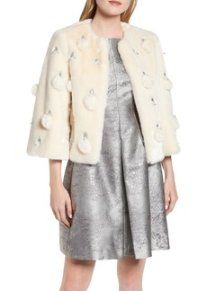 Ted Baker London Billiee Embellished Cropped Faux Fur Jacket