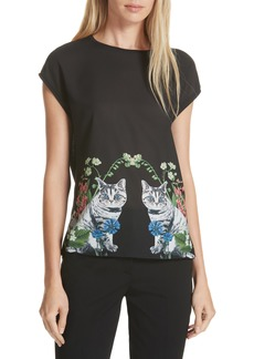 Ted Baker London Bleue Florence Woven Front Tee