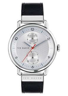 Ted Baker London Brixam Multifunction Leather Strap Watch, 42mm