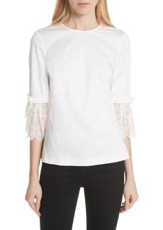 Ted Baker London Broderie Lace Bow Sleeve Top