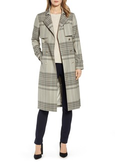 Ted Baker London Buckle Cuff Check Trench Coat