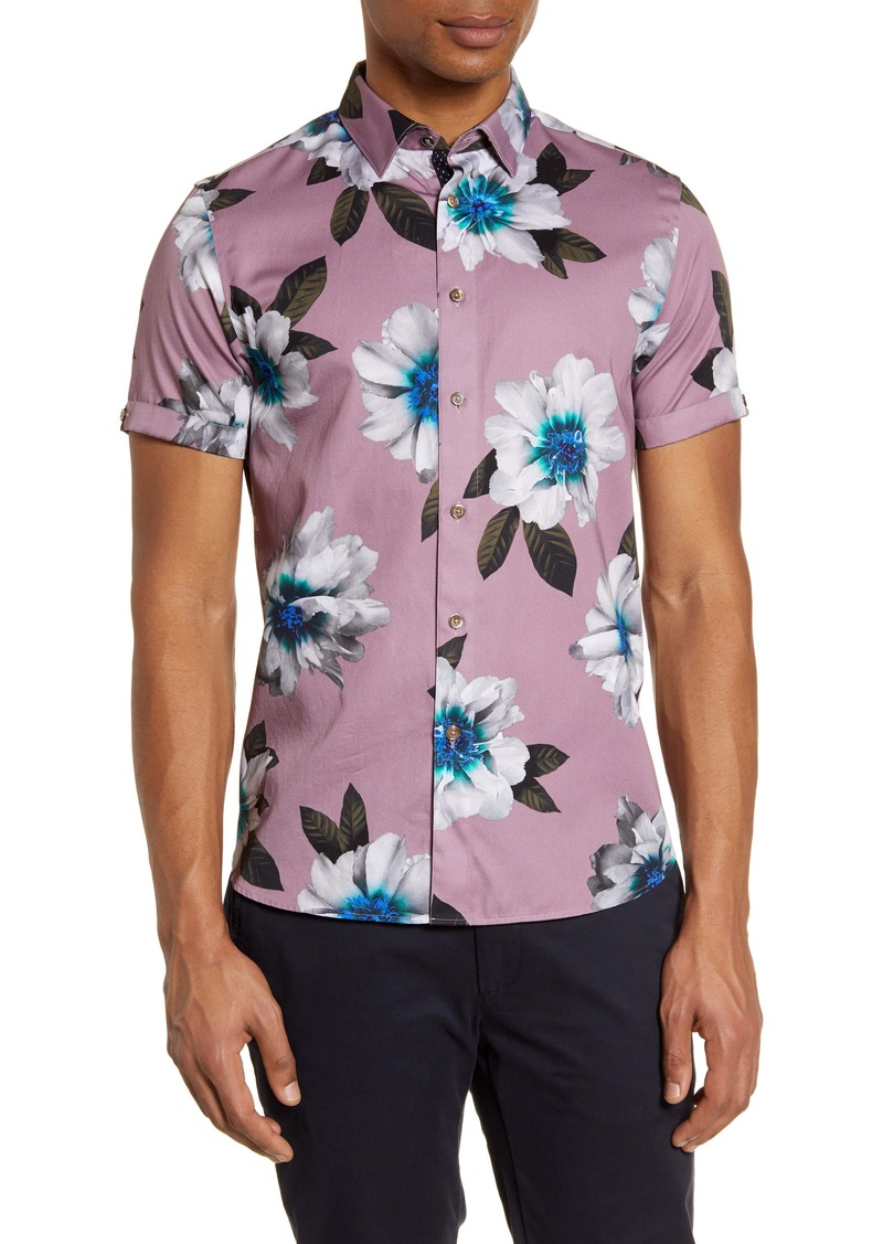 Ted Baker London Butwhy Slim Fit Floral Short Sleeve Button-Up Shirt