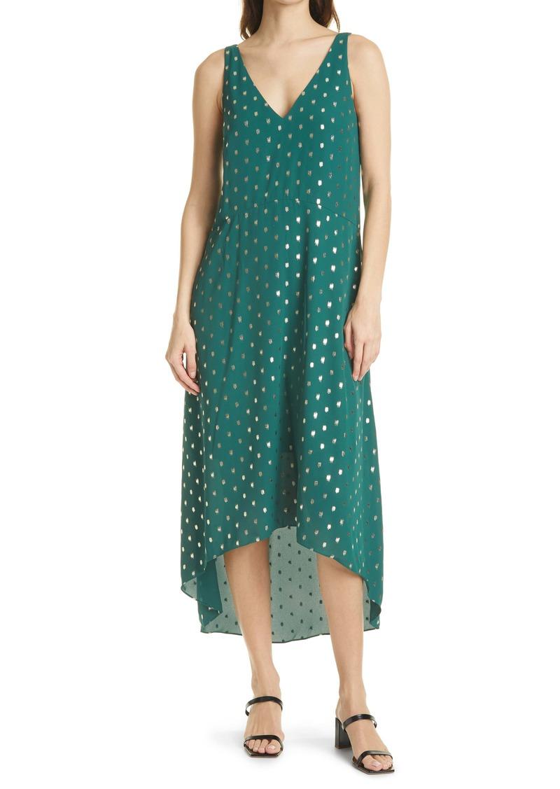 Ted Baker London Cami Metallic Dot Sleeveless High/Low Shift Dress