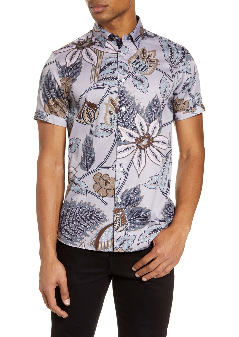 Ted Baker London Canwe Slim Fit Floral Short Sleeve Button-Up Shirt