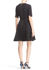Ted Baker London 'Cealine' Belted Texture Fit & Flare Dress