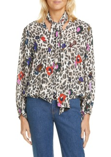 Ted Baker London Charia Wilderness Tie Neck Blouse