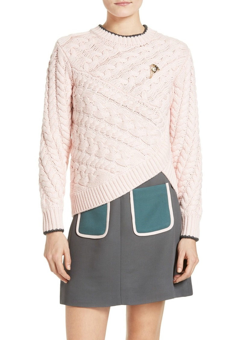 Ted Baker Ted Baker London Charo Cable Knit Wrap Front Sweater ...