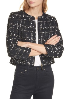 Ted Baker London Charra Metallic Bouclé Crop Jacket