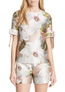 Ted Baker London Chatsworth Bloom Bow Sleeve Top