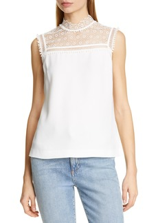 Ted Baker London Clairy Crocheted Lace Yoke Top