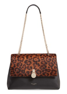 Ted Baker London Cliarra Leopard Print Genuine Calf Hair & Leather Shoulder Bag