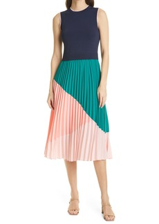 Ted Baker London Colorblock Pleat Skirt Sleeveless Dress