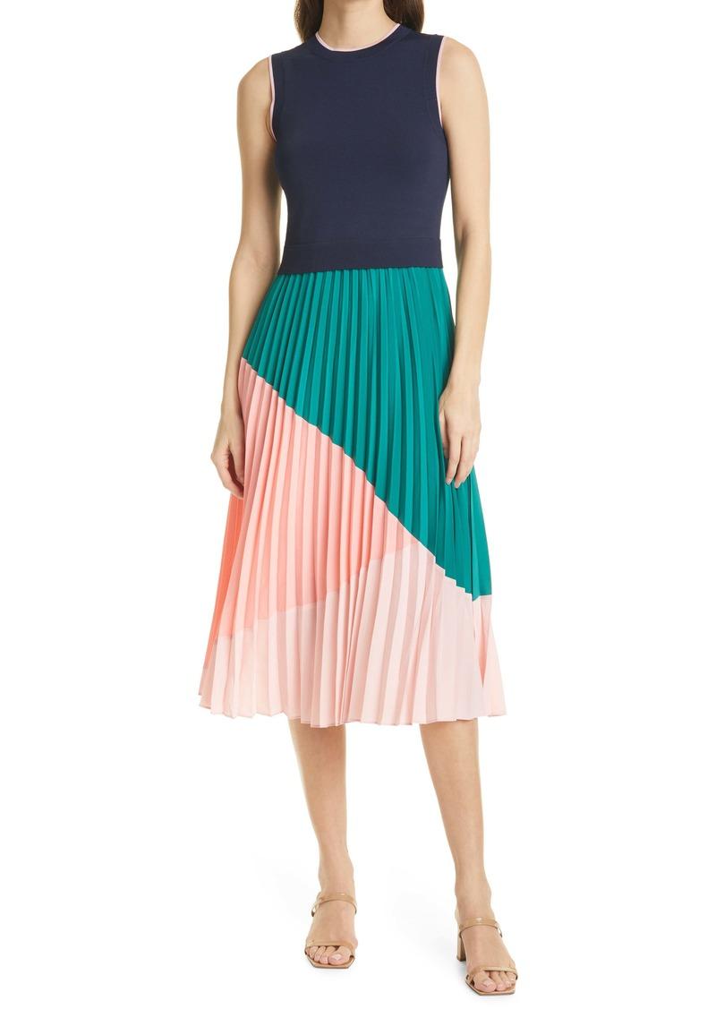 Ted Baker London Colorblock Pleat Skirt Sleeveless Dress