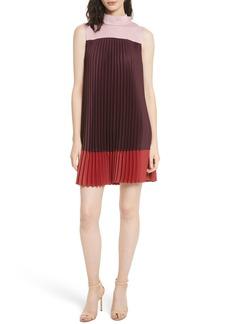 Ted Baker London Colorblock Pleats & Bow Shift Dress