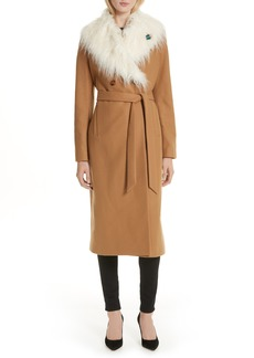 Ted Baker London Colour by Numbers Alcaza Wool Coat with Removable Faux Fur Collar