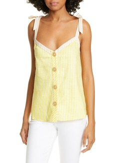Ted Baker London Colour by Numbers Asinara Stripe Cotton & Linen Blend Camisole
