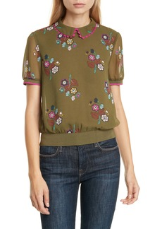 Ted Baker London Colour by Numbers Cleiss Scallop Collar Short Sleeve Top