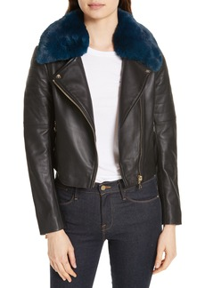 Ted Baker London Colour by Numbers Leather Biker Jacket with Faux Fur Trim