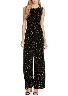 Ted Baker London Colour by Numbers Ursa Metallic Star Detail Velvet Jumpsuit