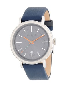Ted Baker Connor Analog Stainless Steel and Leather-Strap Watch