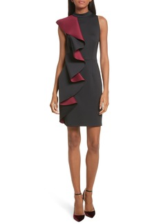 Ted Baker London Contrast Ruffle Body-Con Dress