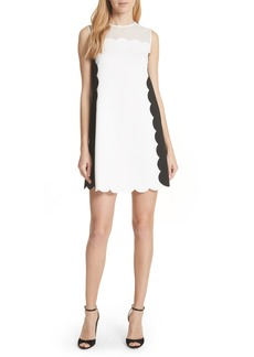 Ted Baker London Contrast Scallop Overlay A-Line Dress