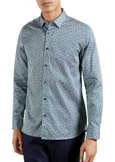 Ted Baker London Copop Slim Fit Floral Stretch Button-Up Shirt