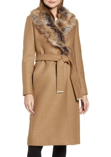 Ted Baker London Corinna Wool Coat with Faux Fur Collar
