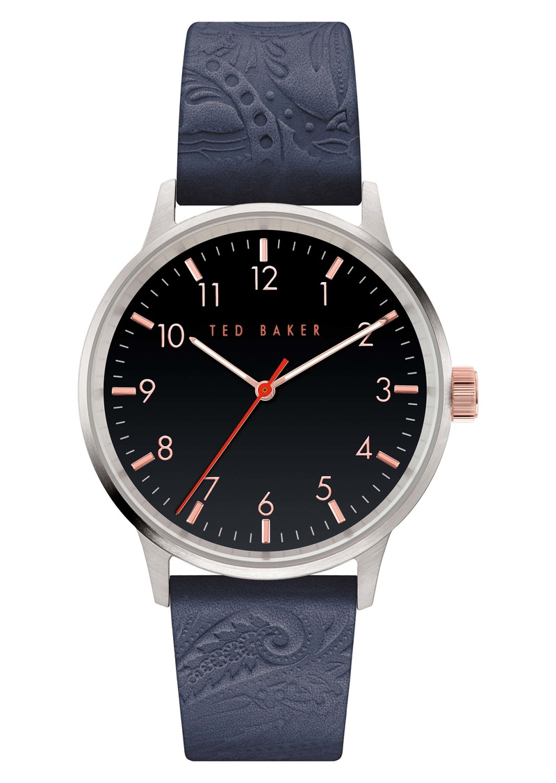 Ted Baker London Cosmop Leather Strap Watch, 40mm