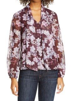 Ted Baker London Cyllie Elderflower Tie Neck Blouse