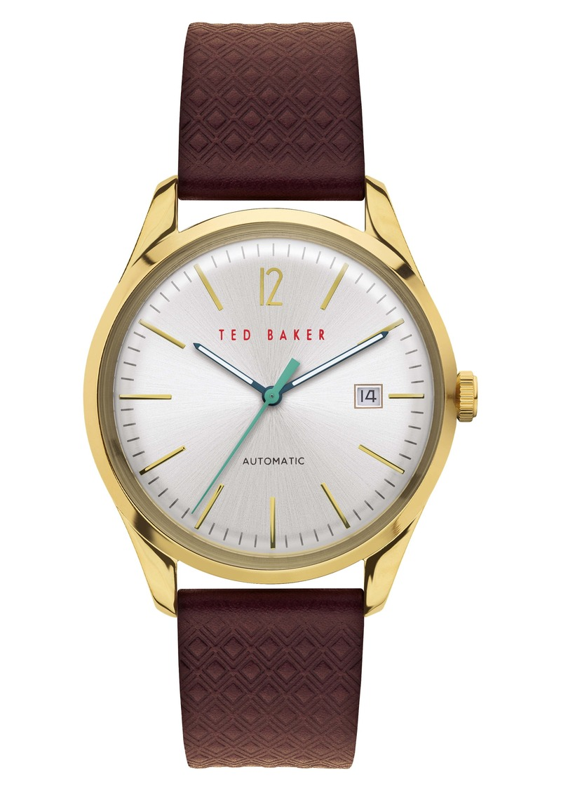 Ted Baker London Daquir Automatic Leather Strap Watch, 40mm