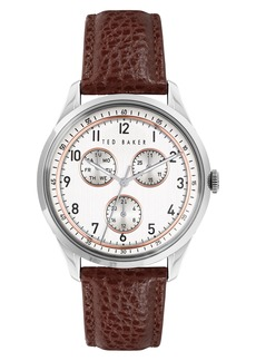 Ted Baker London Daquir Multifunction Leather Strap Watch, 40mm