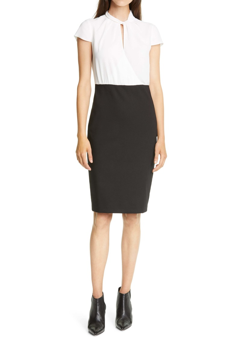 Ted Baker London Daylla Two-Tone Mock Neck Pencil Dress